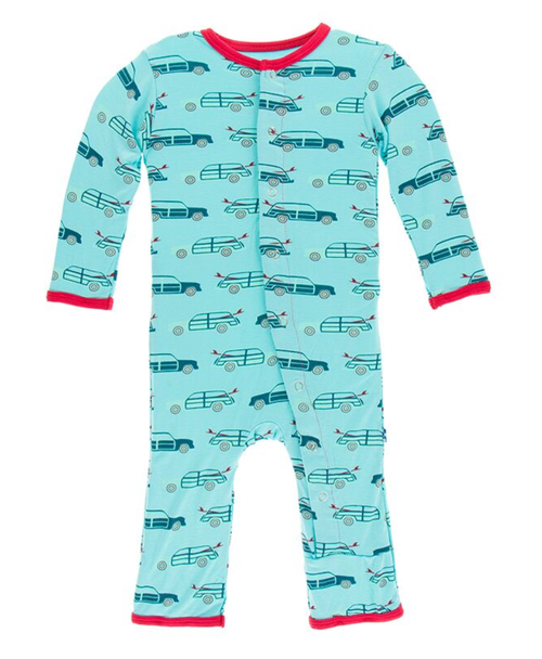 Kickee Pants Print Coverall with Snaps - Shining Sea Woody