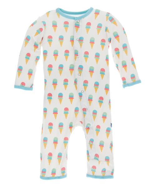 Kickee Pants Print Coverall with Snaps - Natural Ice Cream