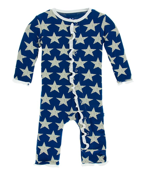 Kickee Pants Print Ruffle Coverall with Snaps - Vintage Stars