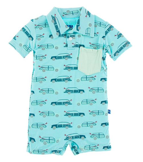 Kickee Pants Print Polo Romper with Pocket - Shining Sea Woody
