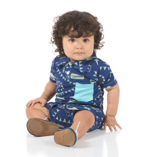 Kickee Pants Print Polo Romper with Pocket - Flag Blue Carnival