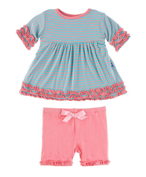 Kickee Pants Print Babydoll Outfit Set - Strawberry Stripe