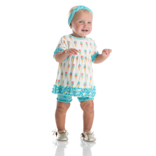 Kickee Pants Print Babydoll Outfit Set - Natural Ice Cream