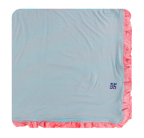 Kickee Pants Print Ruffle Toddler Blanket - Strawberry Stripe