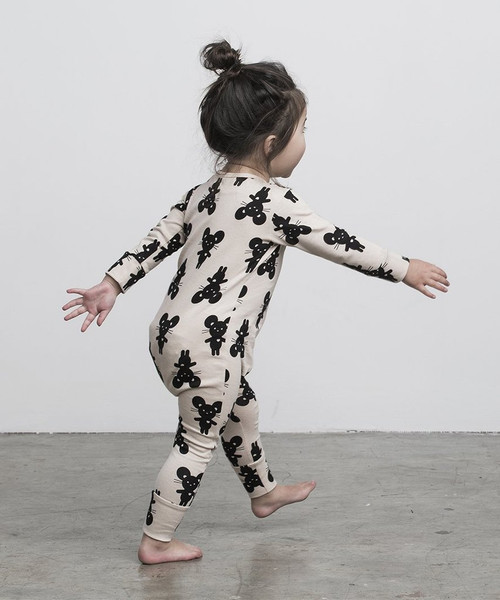 Huxbaby Organic Cotton Mouse Zip Romper