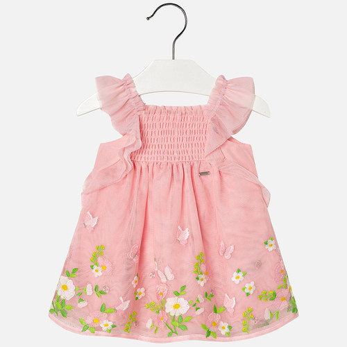 Mayoral Baby Girl Embroidered Dress - Rose
