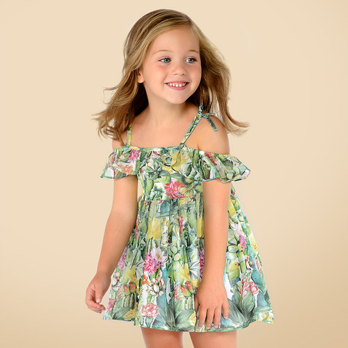 Mayoral Girls Bamboo Dress - Kiwi