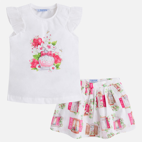 Mayoral Girls T-Shirt and Skirt Set - Fuchsia