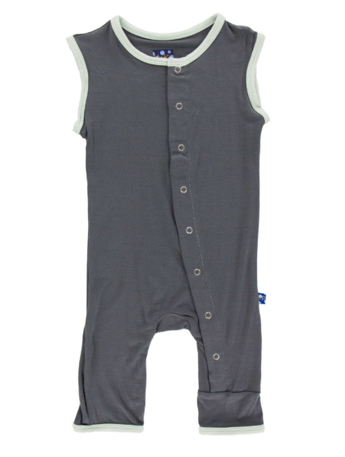 Kickee Pants Solid Tank Coverall - Stone with Aloe