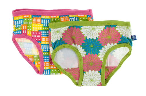 Kickee Pants Girl Underwear Set of 2 - Natural Houses & Tropical Flowers