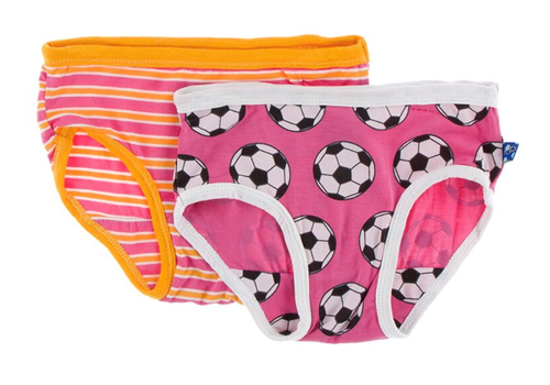 Kickee Pants Girl Underwear Set of 2 - Flamingo Brazil Stripe & Flamingo Soccer