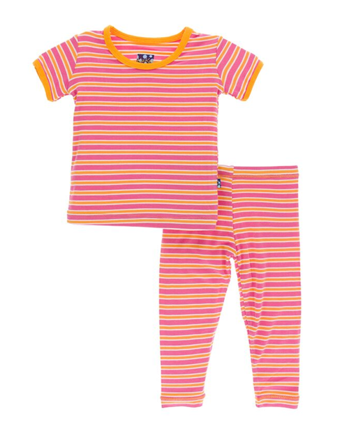 Kickee Pants Print Short Sleeve Pajama Set with Pants - Flamingo Brazil Stripe
