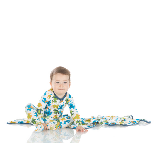 Kickee Pants Print Footie with Snaps - Amazon Frogs