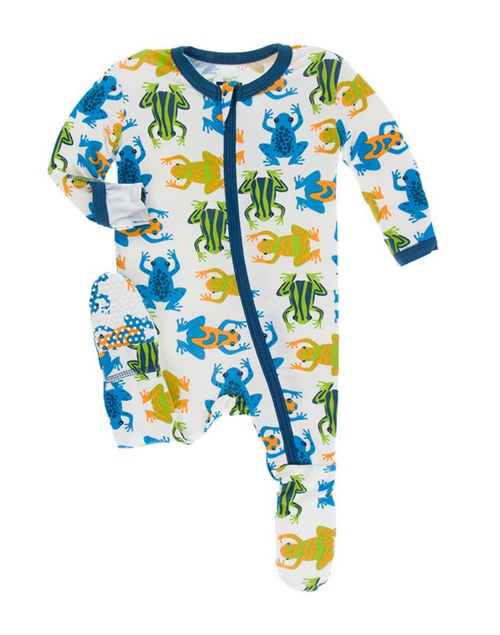 Kickee Pants Print Footie with Zipper - Amazon Frogs