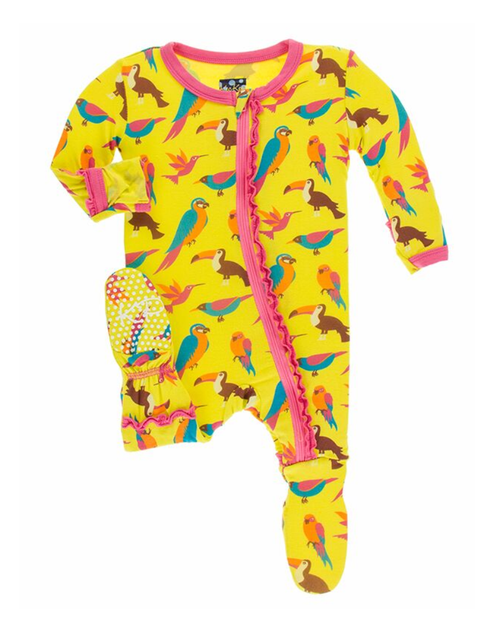 Kickee Pants Print Ruffle Footie in Zipper - Banana Tropical Birds