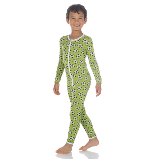 Kickee Pants Print Coverall with Zipper - Meadow Soccer