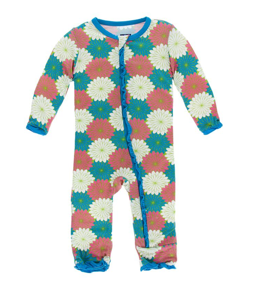 Kickee Pants Print Ruffle Coverall with Zipper - Tropical Flowers