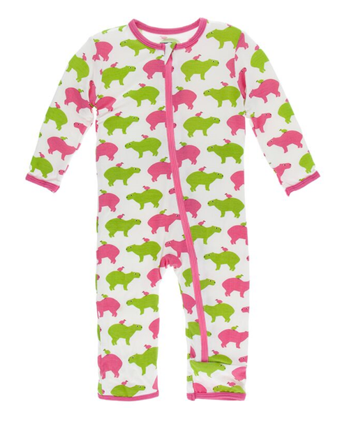 Kickee Pants Print Coverall with Zipper - Natural Capybara