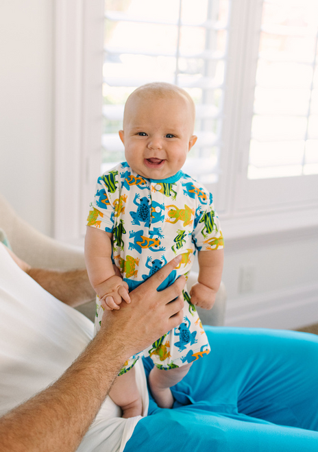 Kickee Pants Print Kangaroo Romper - Amazon Frogs