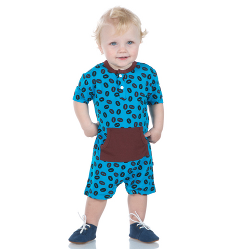 Kickee Pants Print Kangaroo Romper - Amazon Coffee Beans