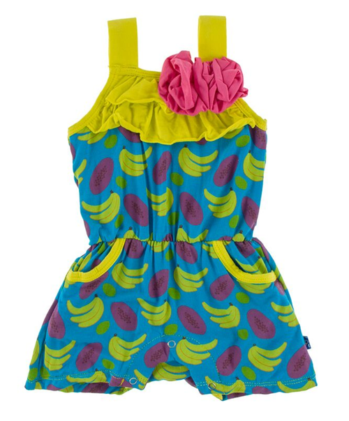 Kickee Pants Print Flower Romper with Pockets - Tropical Fruit