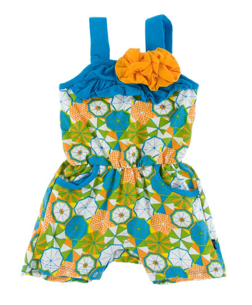 Kickee Pants Print Flower Romper with Pockets - Beach Umbrellas