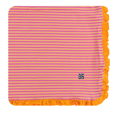 Kickee Pants Print Ruffle Toddler Blanket - Flamingo Brazil Stripe