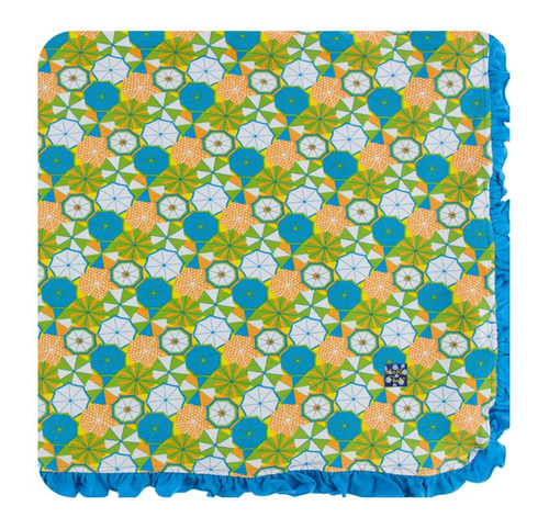 Kickee Pants Print Ruffle Toddler Blanket - Beach Umbrellas