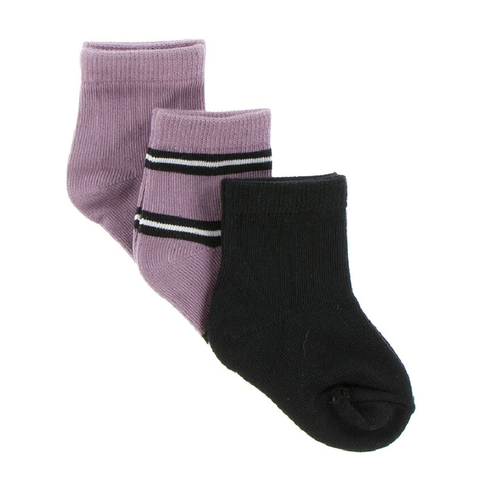 KicKee Pants Sock Set of 3 - Elderberry, Elderberry Kenya Stripe, Zebra