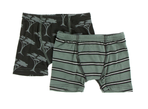 Kickee Pants Boxer Briefs Set of 2 - Zebra Acacia Trees & Succulent Kenya Stripe