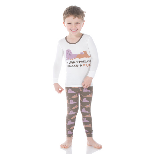 Kickee Pants Print Long Sleeve Pajama Set with Pants - Lions