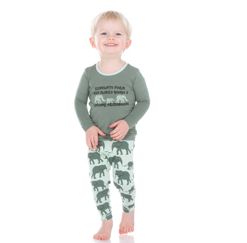 Kickee Pants Print Long Sleeve Pajama Set with Pants - Aloe Elephant