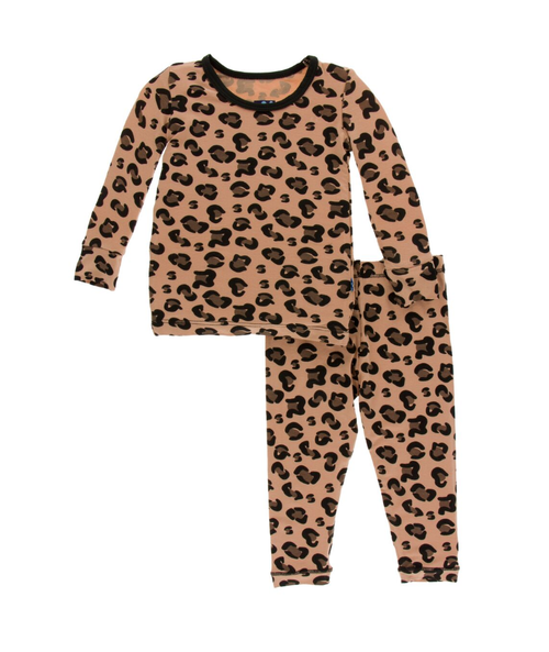 Kickee Pants Print Long Sleeve Pajama Set with Pants - Suede Cheetah Print