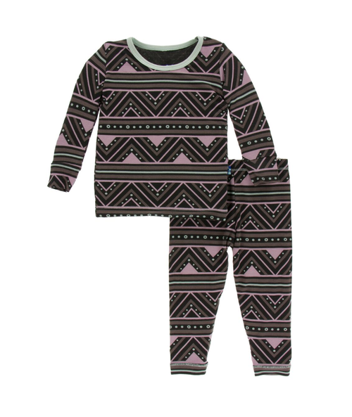 Kickee Pants Print Long Sleeve Pajama Set with Pants - African Pattern
