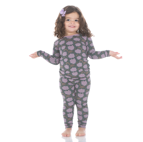 Kickee Pants Print Long Sleeve Pajama Set with Pants - African Violets