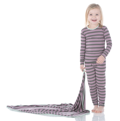 Kickee Pants Print Long Sleeve Pajama Set with Pants - Elderberry Kenya Stripe