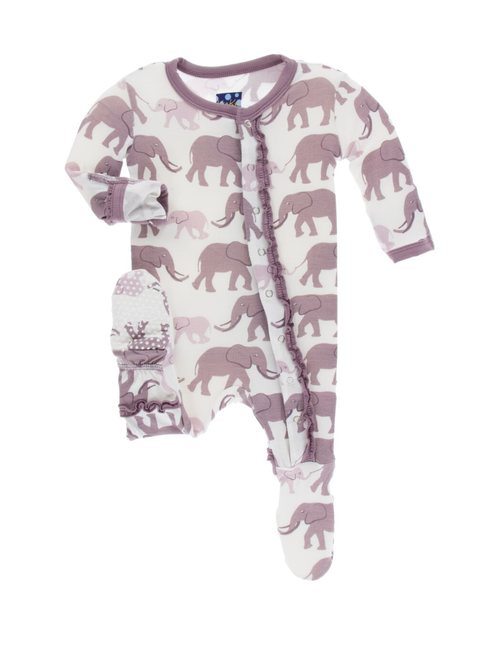 Kickee Pants Print Muffin Ruffle Footie in Snaps - Natural Elephant