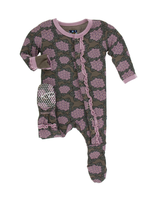Kickee Pants Print Muffin Ruffle Footie in Snaps - African Violets