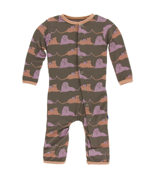 Kickee Pants Print Coverall with Snaps - Lions