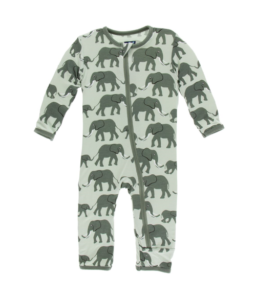 Kickee Pants Print Coverall with Zipper - Aloe Elephant
