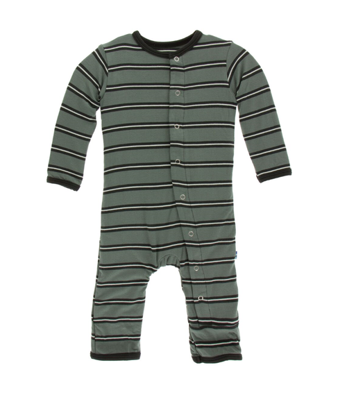Kickee Pants Print Coverall with Snaps - Succulent Kenya Stripe
