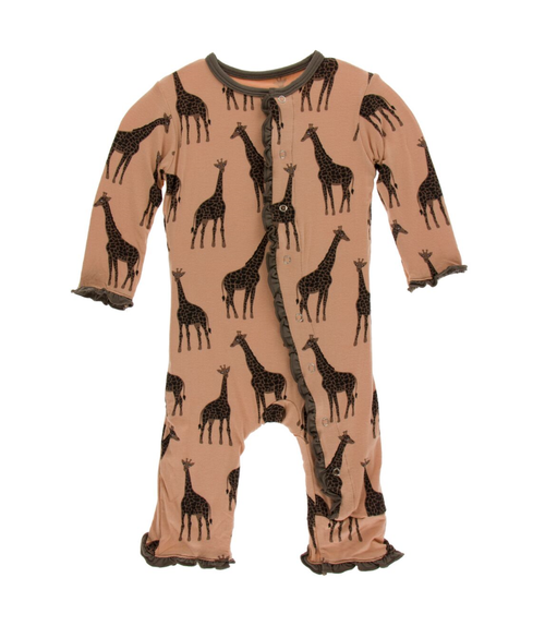 Kickee Pants Print Layette Classic Ruffle Coverall with Snaps - Suede Giraffe