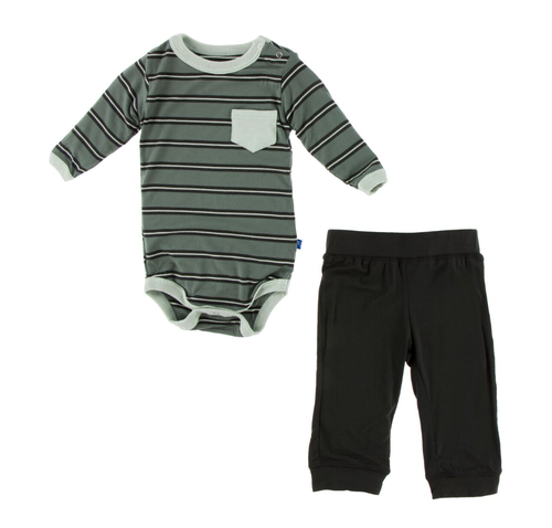 Kickee Pants Print L/S Pocket One Piece and Pant Outfit Set - Succulent Kenya Stripe