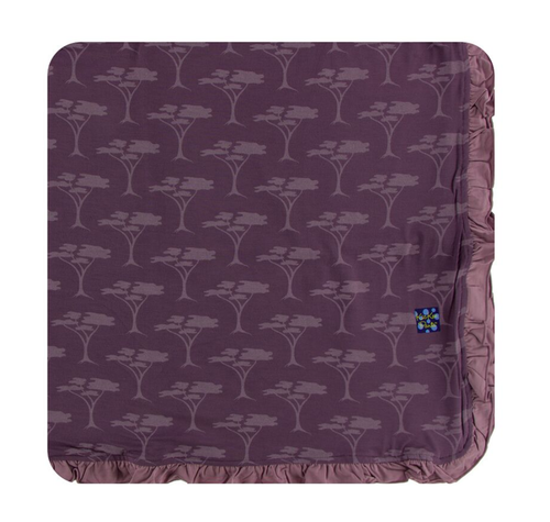Kickee Pants Print Ruffle Toddler Blanket - Fig Acacia Trees