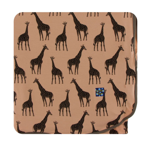 Kickee Pants Print Throw Blanket - Suede Giraffe