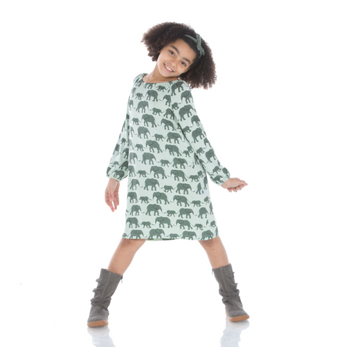 Kickee Pants Long Sleeve Peasant Dress - Aloe Elephant
