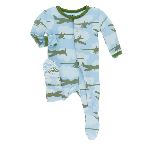 Kickee Pants Print Footie w/ Snaps - Pond Airplanes