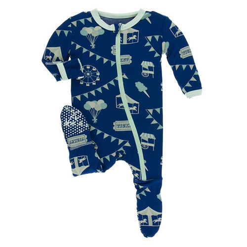 Kickee Pants Print Footie with Zipper - Flag Blue Carnival