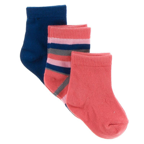 KicKee Pants Sock Set of 3 - Navy, Bright London Stripe & English Rose Garden