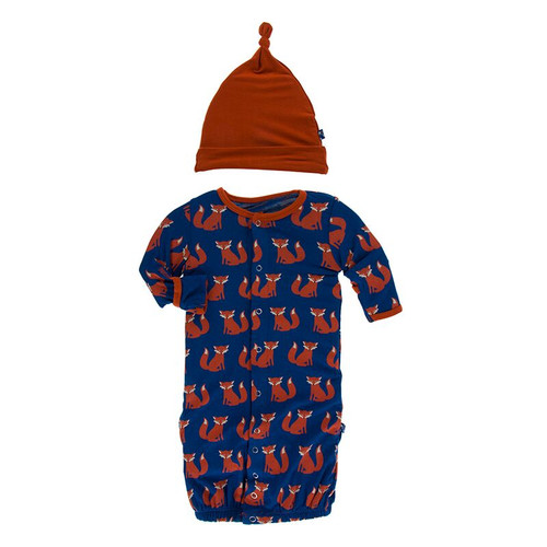 Kickee Pants Layette Gown Converter & Knot Hat Set - Navy Fox